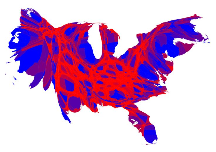 US counties scaled by population with 2016 election votes by...