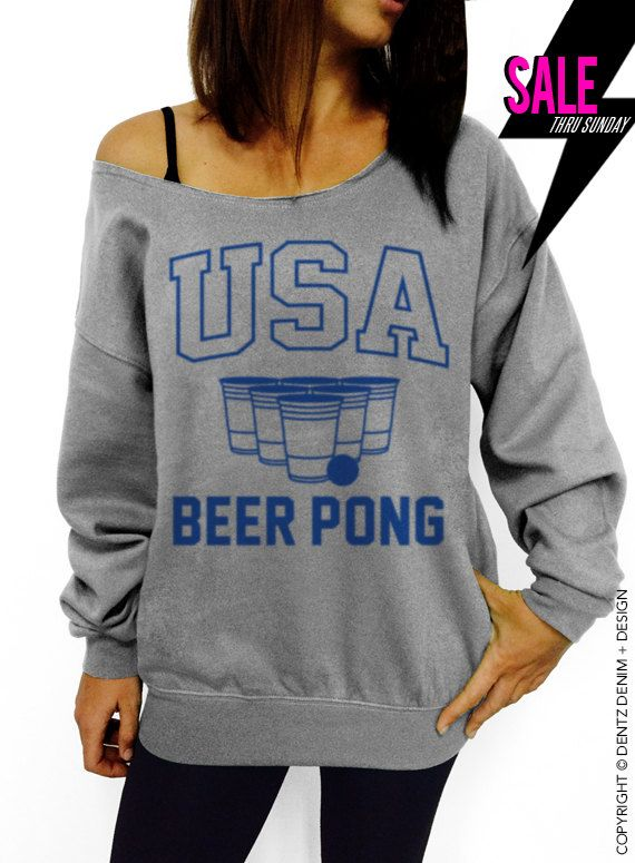 USA Beer Pong - Gray with Blue Slouchy Oversized Sweatshirt #tank #top #summer #tee #party #holidays #4thofjuly #fourthofjuly #memorialday #laborday #picnic #cookout #bbq #family #friends #usa #beerpong #flipcup #frat #brothers #sisters #fraternity #sorority #big #little #allstate #champs #best #college