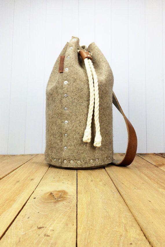 FELTED MENS CARDIGAN REPURPOSED ? Mens backpack / Felt Backpack Duffle bag / Duffel bag by Rambag