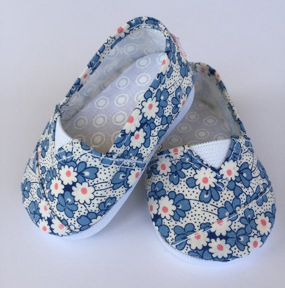 MADDIES - Toms Style Shoes for 18 inch dolls - Medium Blue Floral Print 3