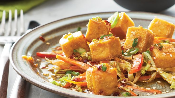 Crispy Baked Tofu with Soy Ginger Dipping Sauce