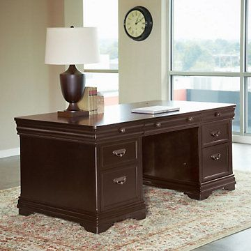 Beaumont double pedestal executive desk mrn 10277 dark wood finish regal traditional - Martin home office furniture ...