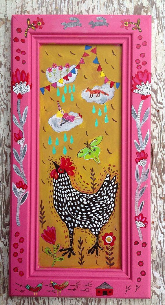 Folk Art Chicken Wall Art Farmhouse Decor on Etsy, $140.00
