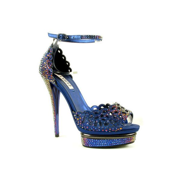 LESILLA - Sandals : 46552 STRASS - NAVY - 2,565.00Eur : Mercedeh-Shoes ❤ liked on Polyvore featuring shoes, sandals, heels, scarpe, blue, navy shoes, blue shoes, blue heeled shoes, navy heel shoes and navy sandals