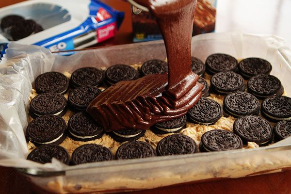 brownie batter poured over double stuffed oreos on top of cookie dough. OMG---looks amazing!!