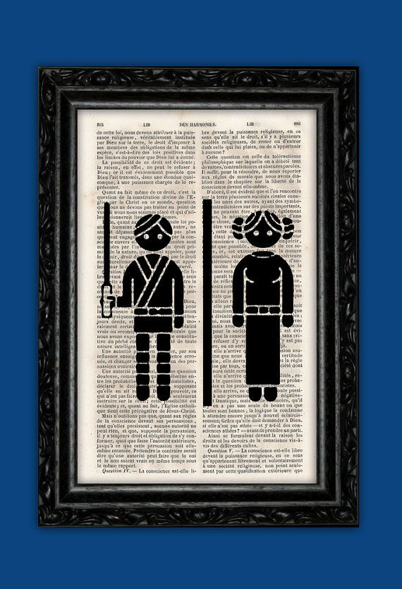 Star Wars Toilet Sign Art Print -WC Luke Leia Poster Book Art Dorm Room Print Gift Print Wall Decor Poster Dictionary Print Art on Etsy, $9.55