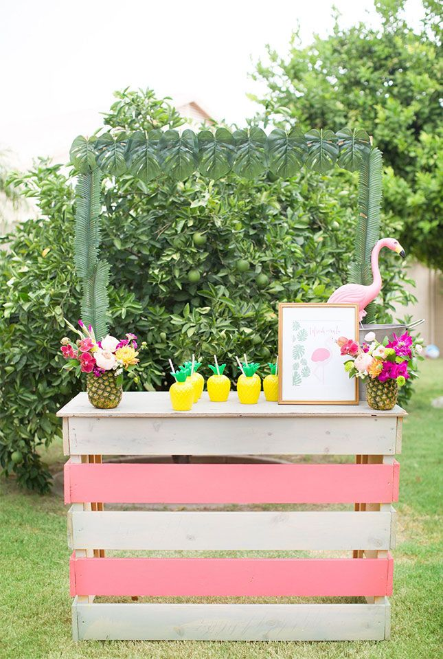 Save this tropical 30th birthday party idea to make a tiki bar for your summer poolside bash.