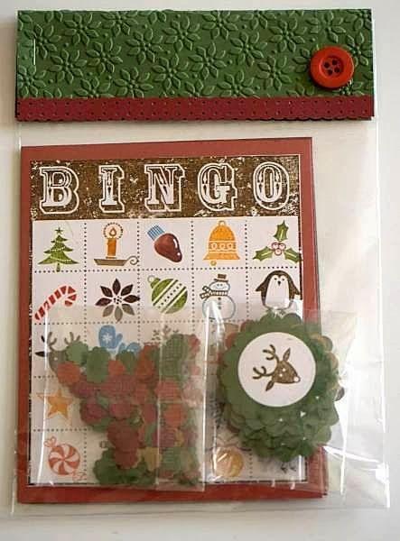 Designed by maryross: Juego de Bingo como regalo de navidad. Bingo game made with bingo card and jolly bingo bits from stampin up, christmas gift ideas