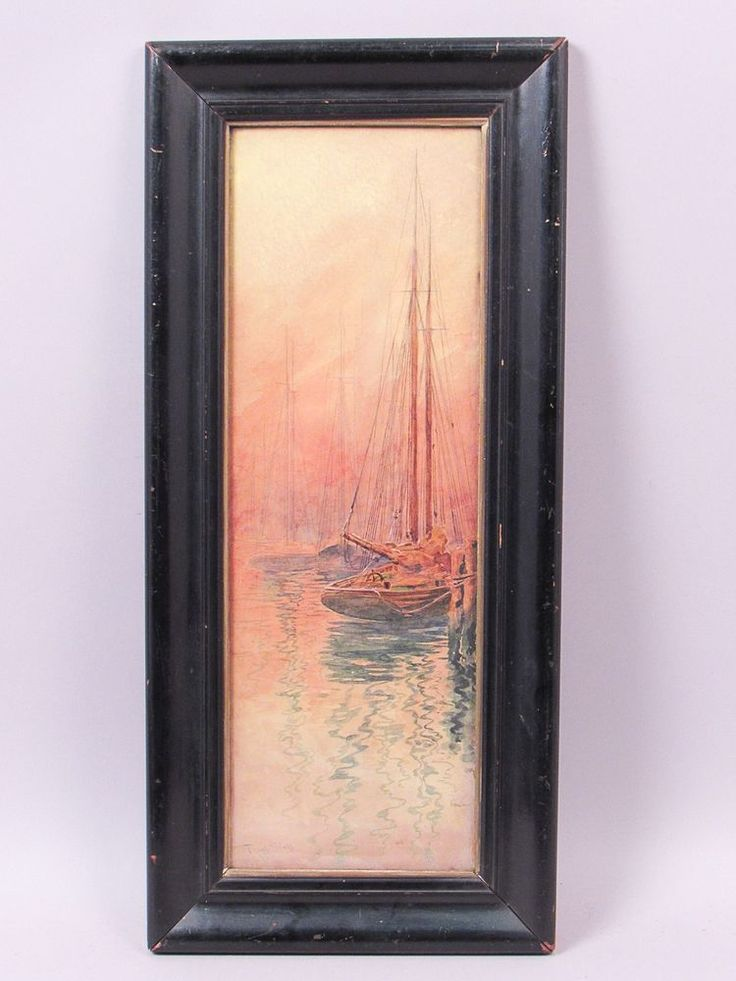 This is a beautiful Impressionist watercolor painting of docked sailboats at sunset from the well-listed American-born French artist Frank Boggs (1855-1926). Boggs worked primarily in France, inspired by nature and light. | eBay!