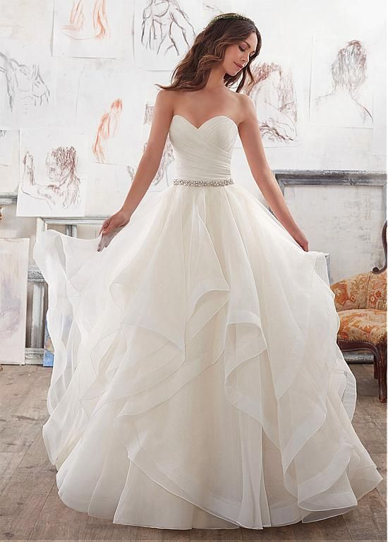 Buy discount Attractive Organza & Satin Sweetheart Neckline A-Line Wedding Dresses With Beadings & Rhinestones at Dressilyme.com
