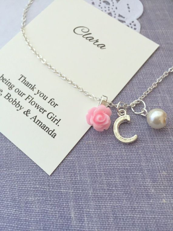 Children necklace, flower girl gifts, rose, initial, personalized, comes with personalized card and JEWELRY box.