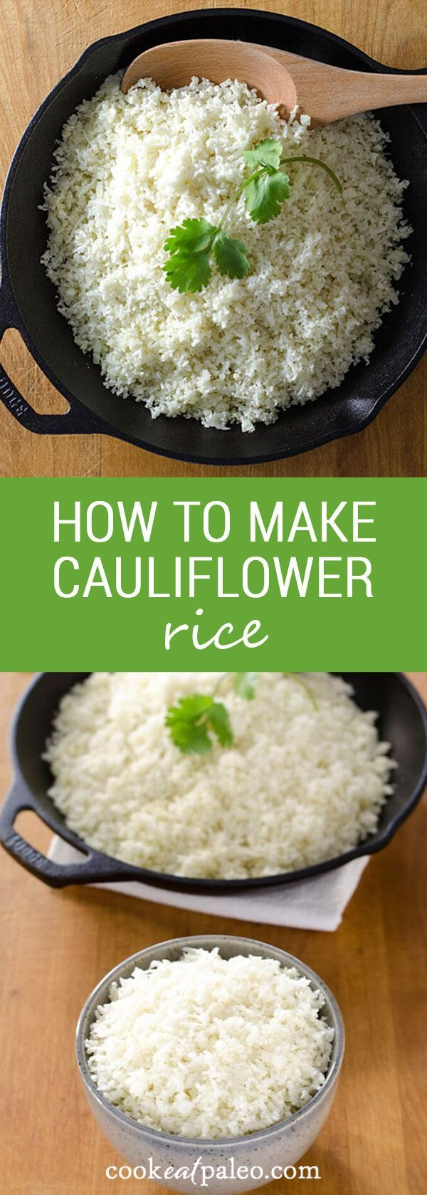 How to make cauliflower rice and stock your refrigerator or freezer with a ready-to-cook, 5-minute paleo side dish that will go with just about anything. via @cookeatpaleo