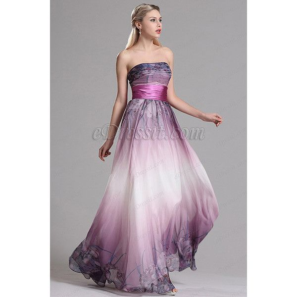 Strapless Printed A Line Purple Prom Evening Dress (X07151406) ($130) ❤ liked on Polyvore featuring dresses, purple prom dresses, strapless hi-low dresses, strapless cocktail dresses, a line shape dress and strapless a line dress