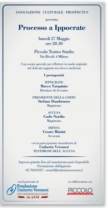 Processo a Ippocrate, uno spettacolo patrocinato da Fondazione Veronesi per riflettere su etica e medicina