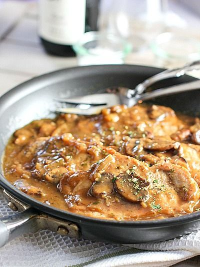 Easy One Skillet Pork Chops in Mushroom Gravy