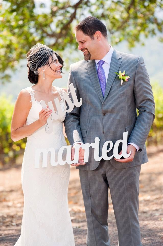 Wedding Sign Just Married for Photography - Photo Prop or Decor for Wedding Carved Just Married Sign in Gold (Item - JMA100) by ZCreateDesign on Etsy https://www.etsy.com/listing/221134327/wedding-sign-just-married-for