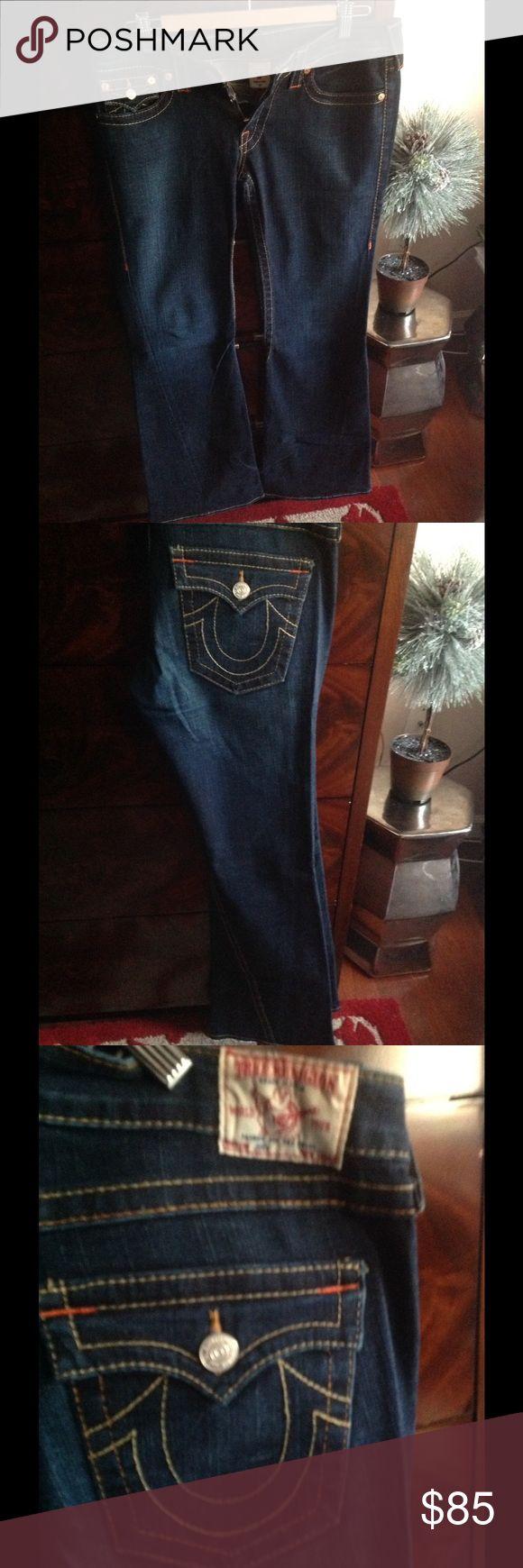 True Religion dark wash jeans Dark wash True Religion jeans purchased at Neiman Marcus. Slightly worn ( worn once ). True Religion Jeans Flare & Wide Leg