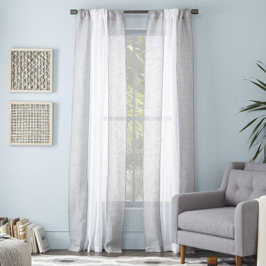 Colorblock Linen Curtain – White/Feather Gray | West Elm