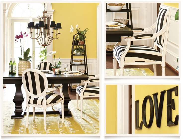 [get the look: lily dining room]  I  ballarddesigns.com: Rooms Ballard Design, Yellow Rooms, Bold Stripes, Yellow Wall, Dining Rooms Colors, Black White, Colors Schemes, Ballard Designs, Bold Colors