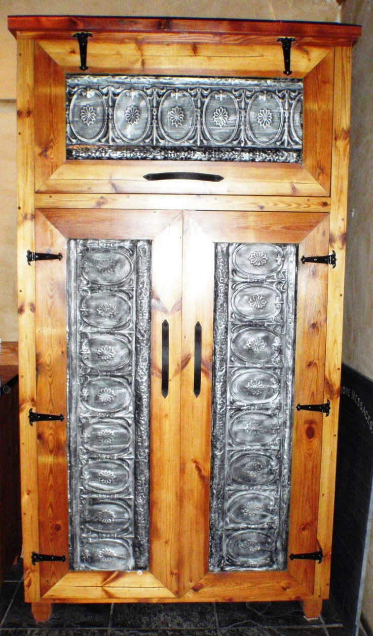 Salvaged pressed steel ceiling boards, re-cycled Douglas fir timber - Orejen kitchen cupboard !