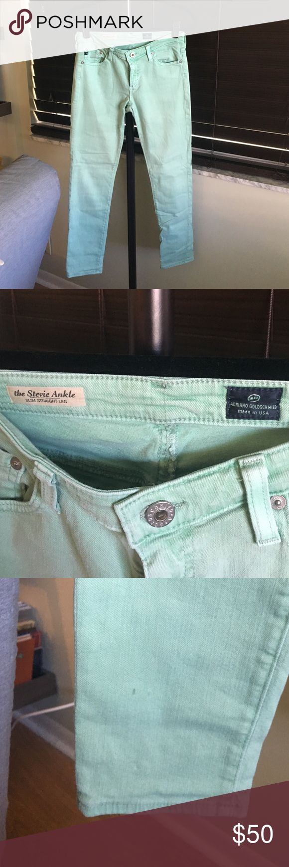 Anthropologie mint jeans Spot as seen in 3rd pic. Not noticeable when wearing. EUC. Offers welcome:-) Anthropologie Pants