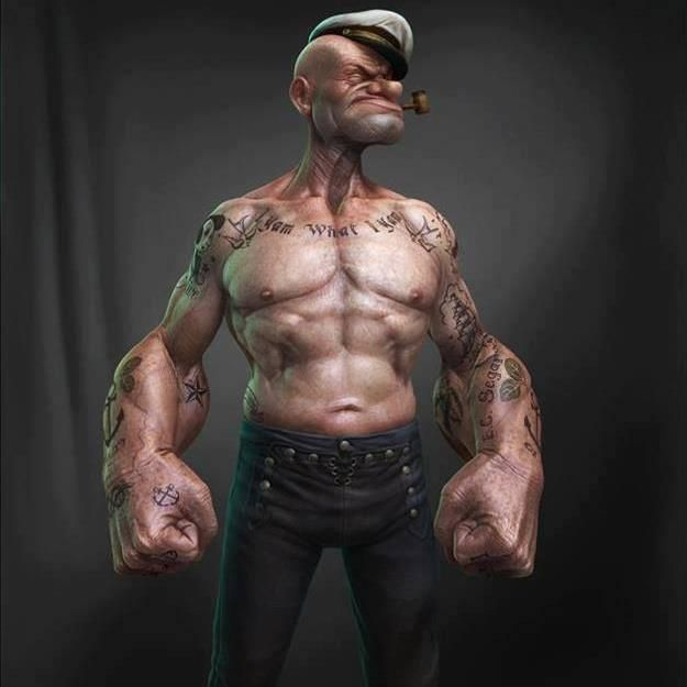 Real life cartoon characters. Popeye and Homer Simpson are ...
