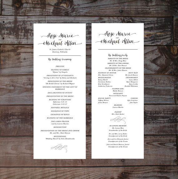 Modern wedding program, wedding ceremony programs, wedding program template, printable wedding program, DIY wedding program, calligraphy
