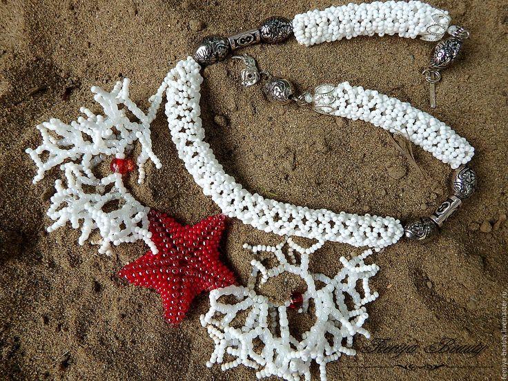 Купить Летнее ожерелье колье из бисера Морская звезда - белый, белый красный, звезда