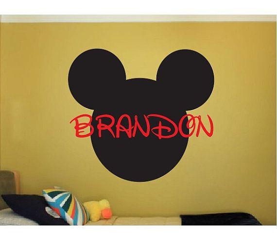 CUSTOM MICKEY MOUSE NAME VINYL DECAL ~ Mickey Mouse Nursery Decor ~ Disney Kid's Room