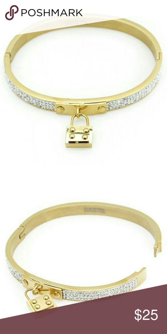 Padlock Charm Stainless Steel Bracelet Padlock Charm Crystal Pave Hinged Stainless Steel Bracelet  Color : GOLD-CLEAR Size : Diameter:2.25inch Jewelry Bracelets