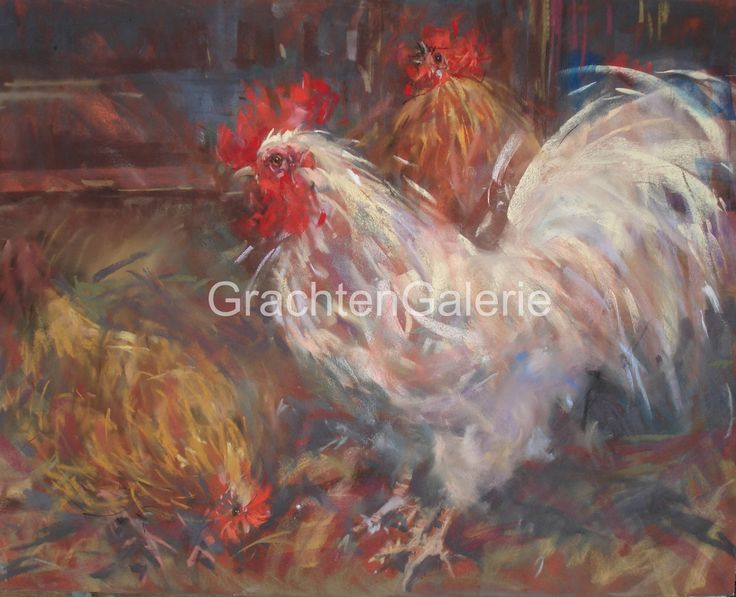 Witte haan en kip | Corry Kooy | Schilderij | Landscape | Art