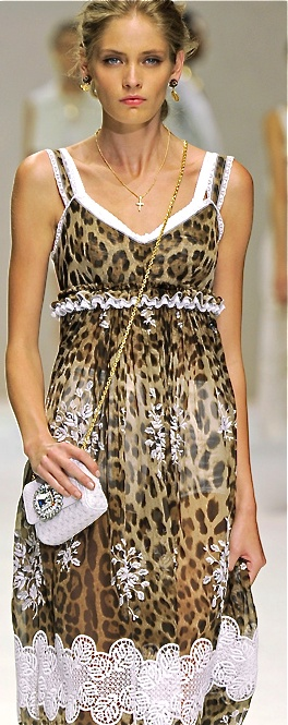 Dolce & Gabbana-I'm usually not one for leopard print, but I like this dress.. but I can't get over how angry she looks!! Lol