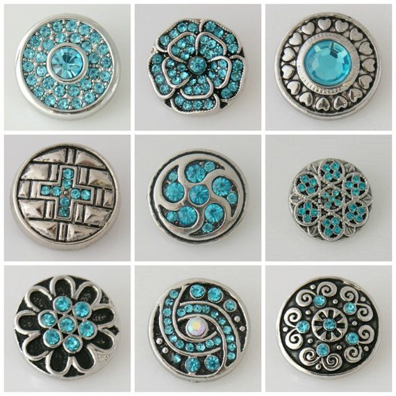 Premium quality Noosa style snap on button charms / chunks / poppers that are a single molded unit and are made of zinc alloy (no lead or nickel). You are buying 9 x 20 mm RANDOM ASSORTED RHINESTONE snap charms in Turquoise, including most of these pictured but may include slight varaitions.They are interchangeable with Noosa & Gingersnap bracelets, pendants, earrings and rings. Made from lead & nickel free zinc alloy. You can create your own unique look everyday by changing...