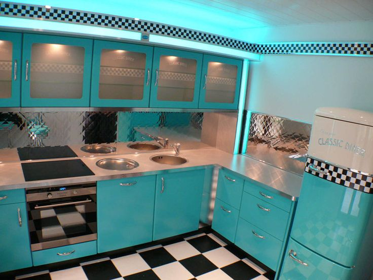 180 best 50s diner kitchen 50er k che images on. Black Bedroom Furniture Sets. Home Design Ideas