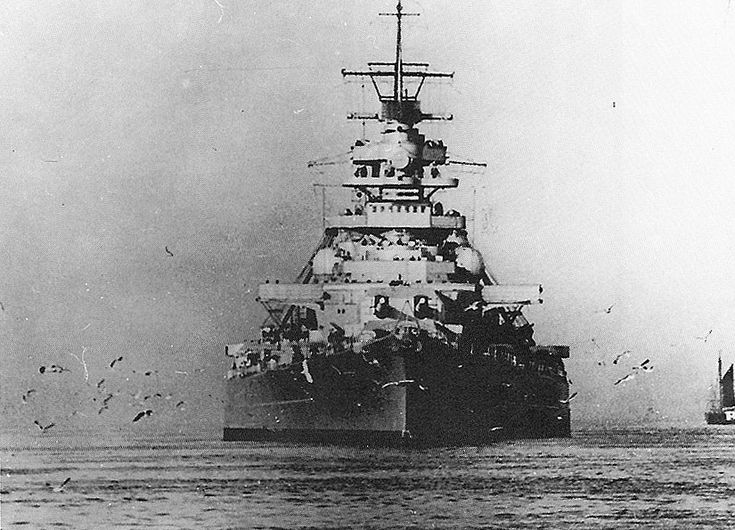 KSM Bismarck  - Bismarck-class battleship	41,700 tons - 24 August 1940 - sunk 27 May 1941. In this caption shortly before the ill fated Operation Rhine, May 1941, showing the great beam of the ship.  On the 24th she sank the famous British battlecruiser HMS Hood; on the 27th she went to the bottom of the Atlantic.