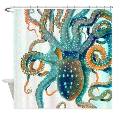 Colorful Teal Orange Octopus Shower Curtain on CafePress.com
