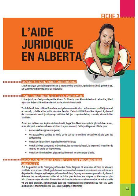 Fiche juridique - Aide juridique en Alberta