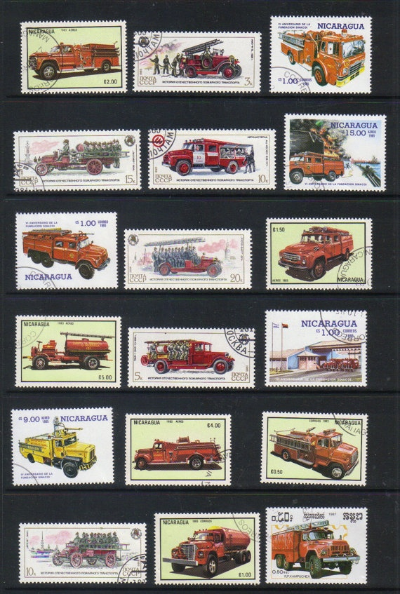 Fire engines  vintage postage stamps by artypharty on Etsy