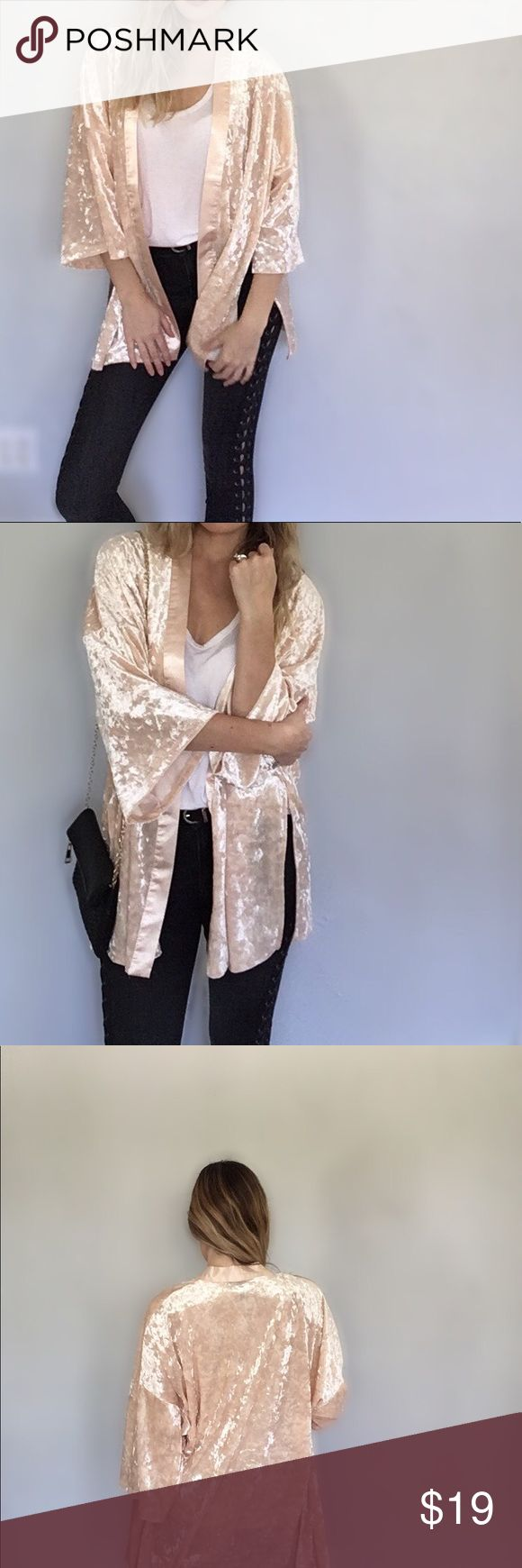 Pink / Peach Velvet Silk Cardigan Like new, worn once. Not actual silk or velvet, but the materials have the same likeness. Please see all photos, close up photos are of color and texture taken in natural light / no filter. Forever 21 Sweaters Cardigans