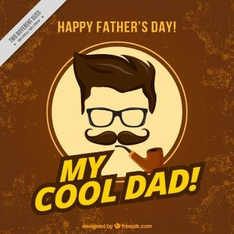 Tarjeta de padre hipster con una pipa