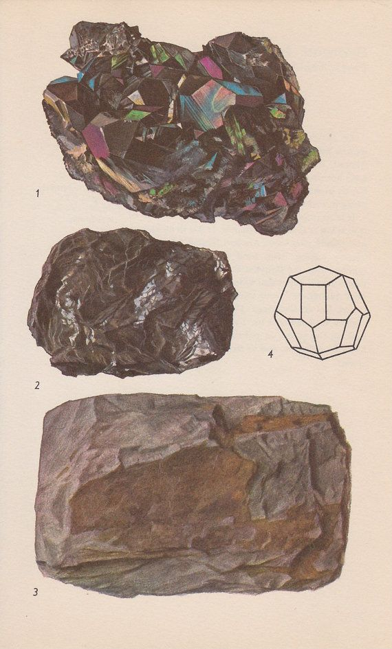 Vintage Print Rocks and Minerals Haematite Crystals