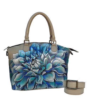 This Dreamy Dahlias Hand-Painted Leather Convertible Satchel is perfect! #zulilyfinds