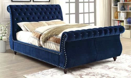 Furniture of America Noella Collection Navy Blue Queen Size Platform Bed CM7128NV-Q