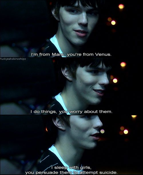 Skins... so hooked on this show! Season 1 and 2 cast is the best!