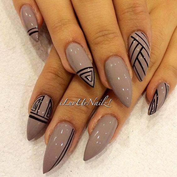unhas, esmaltes e nail art de inverno stiletto