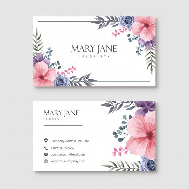 Florist Business Card Template With Watercolor Floral Florist Business Card Floral Business Cards Business Cards Watercolor