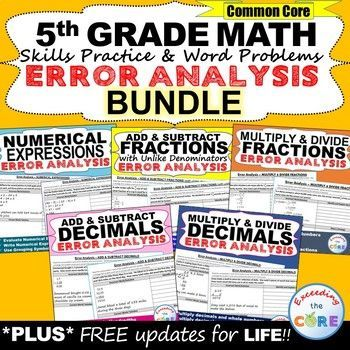 Have your students apply their understanding of 5th grade math concepts with these ERROR ANALYSIS activities.    This resource includes 50 Common Core WORD PROBLEMS that are solved incorrectly. Students find  the error, correct it & share a strategy. Topics: Numerical Expressions, Add & Subtract Decimals, Multiply & Divide Decimals, Add & Subtract Fractions , Multiply & Divide Fractions. Perfect for homework, warm-ups, math stations & assessments. 5th grade math common core 5.OA, 5.NBT, 5.NF