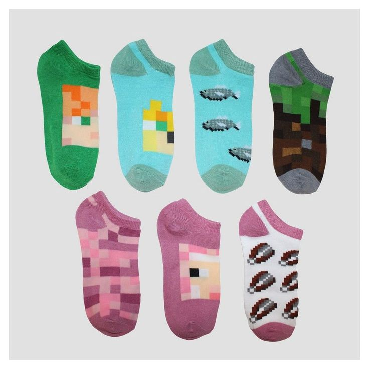 Imn Socks Child Female Athletic Socks Disney Minecraft Green S/M, Girl's