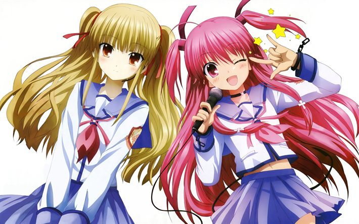 Download wallpapers Angel Beats, Yui, TK, Japanese anime, TV series, manga, female characters, 4k