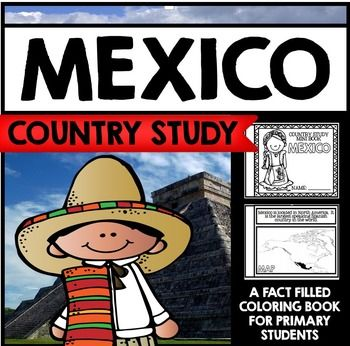 "This 30 Page ""All About Mexico"" country study mini booklet project is perfect your upcoming Mexico unit, lesson, multicultural study, cultural fair, or country study. Full of information about Mexico, this fun coloring book includes information about Mexico written in engaging informational text that is perfect for the lower elementary grades."